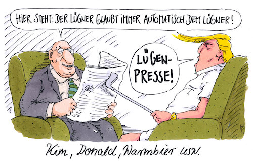 Cartoon: verlogen (medium) by Andreas Prüstel tagged treffen,trump,kim,jong,un,gefangenschaft,warmbier,lügen,lügenpresse,cartoon,karikatur,treffen,trump,kim,jong,un,gefangenschaft,warmbier,lügen,lügenpresse,cartoon,karikatur