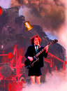 Cartoon: angus young (small) by Andreas Prüstel tagged acdc angus young leadgitarist songwriter energie