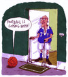 Cartoon: football (small) by Andreas Prüstel tagged fußball,fußballhymne,alter,lederfußball,fußballspieler,heimkommen,cartoon,karikatur,andreas,pruestel