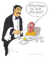 Cartoon: knete spezial (small) by Andreas Prüstel tagged restaurant,ober,kellner,gast,kind,essen,zeche,bezahlung,geld,spielgeld,rechnung,cartoon,karikatur,andreas,pruestel
