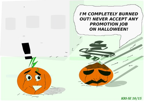 Cartoon: BURN OUT (medium) by KRI-SE tagged halloween,job,burn,out,promotion