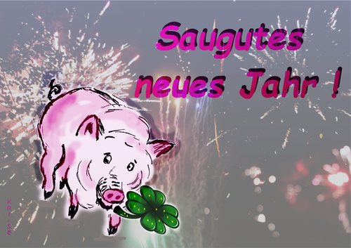 Cartoon: Saugutes neues Jahr (medium) by KRI-SE tagged prost,neujahr,silvester,gruß,aberglaube,schwein,glück,sau,saumäßig,year,new,happy,jahr,neues,gutes,2016