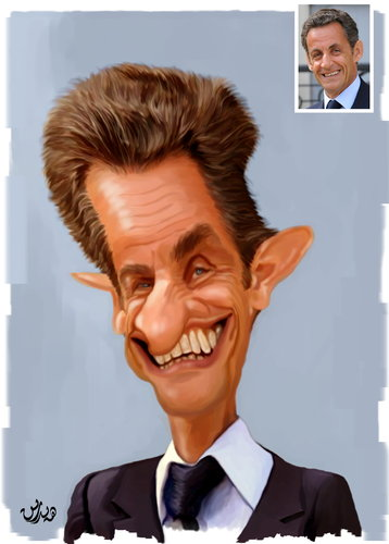 Cartoon: Nicolas Sarkozy (medium) by handren khoshnaw tagged khoshnaw,handren
