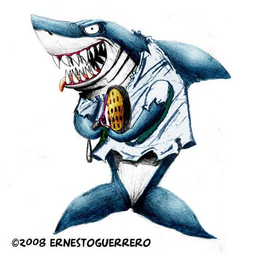 Cartoon: shark attack paddle! (medium) by ernesto guerrero tagged nature,sports
