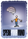 Cartoon: Speak Your Mind (small) by JohnBellArt tagged speak,mind,cartoon,brain,thoughts,opinion,freedom,free,speech,idea,thinking