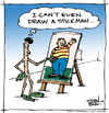 Cartoon: Stick Man (small) by JohnBellArt tagged stick,man,draw,canvas,art,artist,beret,leaves,paint