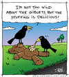 Cartoon: Stuffing (small) by JohnBellArt tagged teddy bear stuffing road kill crow carrion eat dead toy devour doll