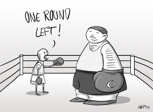 Cartoon: One round left (medium) by INovumI tagged erdogan,president,präsident,präsidialsystem,presidential,system,opposition