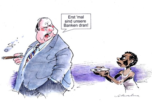 Cartoon: erst mal (medium) by Reiner Schwalme tagged finanzkrise,hunger