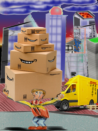 Cartoon: can you feel it (medium) by ab tagged weihnachten,christmas,amazon,spot,shopping,internet,service,parcel,delivery,dhl,hermes