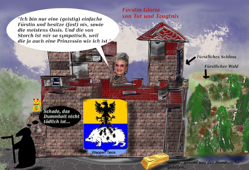 Cartoon: der adel spricht (medium) by ab tagged adel,bayern,fürstin,tut,blabla