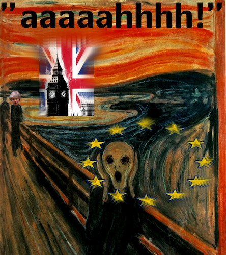 Cartoon: enough (medium) by ab tagged brexit,uk,may,eu,munch,scream