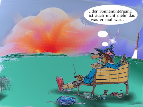 Cartoon: real sun downer (medium) by ab tagged sonne,untergang