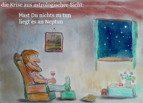 Cartoon: wissenswertes (medium) by ab tagged virus,corona,sterne,planeten,astrologie,weisheit,lockdown,zuhause,faul