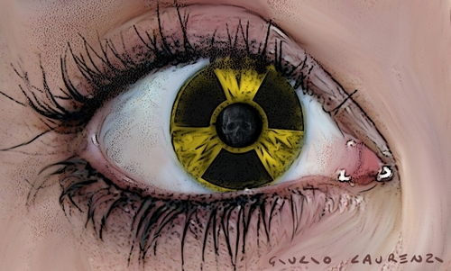 Cartoon: Eye (medium) by Giulio Laurenzi tagged nuclear,radioactivity