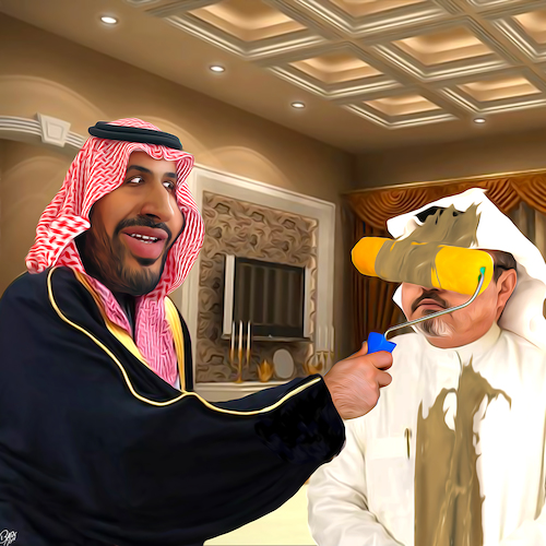 Cartoon: Body painting (medium) by Bart van Leeuwen tagged mohammed,bin,salman,saudi,arabia,khashoggi