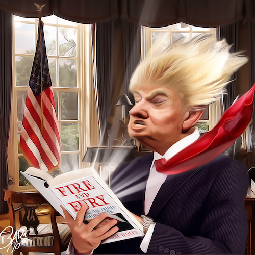 Cartoon: Fresh Air (medium) by Bart van Leeuwen tagged fireandfury,michaelwolff,trump,fire,fury