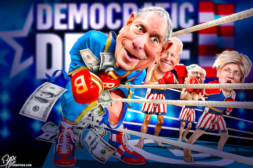 Cartoon: Michael Bloomberg 2020 race (medium) by Bart van Leeuwen tagged michael,bloomberg,2020,presidential,race,democrats,major,new,york,primary,elections