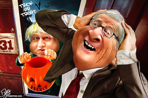 Cartoon: Trick or Treat (medium) by Bart van Leeuwen tagged borisjohnson,brexit,nodeal,halloween,trickortreat,pm,juncker