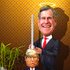 Cartoon: Political yardstick (small) by Bart van Leeuwen tagged bush,wh,trump,41,republican,former,president,rip