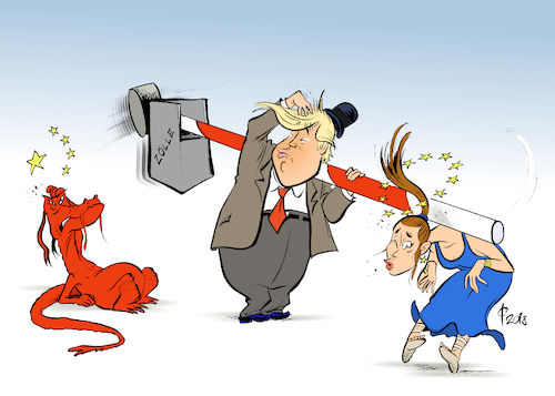 Cartoon: American slapstick (medium) by Paolo Calleri tagged usa,china,eu,europa,handel,wirtschaft,zoll,zoelle,schutzzoelle,stahl,produkte,waren,freihandel,handelsstreit,karikatur,cartoon,paolo,calleri,usa,china,eu,europa,handel,wirtschaft,zoll,zoelle,schutzzoelle,stahl,produkte,waren,freihandel,handelsstreit,karikatur,cartoon,paolo,calleri