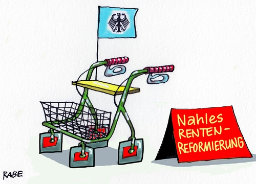 Cartoon: Rentenreform (medium) by RABE tagged nahles,spd,rente,rentenreform,rollator,rentner,rabe,ralf,böhme,cartoon,karikatur,pressezeichnung,farbcartoon,tagescartoon,rentenbescheid,mindestrente,nahles,spd,rente,rentenreform,rollator,rentner,rabe,ralf,böhme,cartoon,karikatur,pressezeichnung,farbcartoon,tagescartoon,rentenbescheid,mindestrente