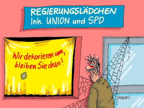 Cartoon: Schaufensterkrankheit (medium) by RABE tagged sonderparteitag,spd,martin,schulz,ja,groko,koalitionsverhandlungen,rabe,ralf,böhme,cartoon,karikatur,pressezeichnung,farbcartoon,tagescartoon,merkel,union,koalitionsgespräche,abrissbirne,dekoration,schaufenster,umdekoration,regierungslädchen,kunde,bürger,zielgerade,ergebnis,koalitionspapiere,sonderparteitag,spd,martin,schulz,ja,groko,koalitionsverhandlungen,rabe,ralf,böhme,cartoon,karikatur,pressezeichnung,farbcartoon,tagescartoon,merkel,union,koalitionsgespräche,abrissbirne,dekoration,schaufenster,umdekoration,regierungslädchen,kunde,bürger,zielgerade,ergebnis,koalitionspapiere