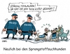 Cartoon: Sprengstoffhund (small) by RABE tagged sprengstoff,sprengstoffspürhund,sprengstoffexperte,sprengstoffgürtel,sprengstoffattentat,is,islamisten,terrorwarnung,rabe,ralf,böhme,cartoon,karikatur,pressezeichnung,farbcartoon,tagescartoon,hunde,polizei,flüchtlinge,islam