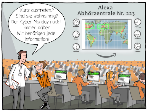 Cartoon: Alexa (medium) by CloudScience tagged alexa,echo,amazon,abhoeren,ueberwachung,überwachen,datenschutz,mithoeren,clickworker,cyber,monday,tech,technik,technologie,daten,auswertung,informationen,sprachassistent,lauschen,nsa,digital,digitalisierung,lauschangriff,spion,spionage,wanze,skandal,datenskandal,internet,ecommerce,alexa,echo,amazon,abhoeren,ueberwachung,überwachen,datenschutz,mithoeren,clickworker,cyber,monday,tech,technik,technologie,daten,auswertung,informationen,sprachassistent,lauschen,nsa,digital,digitalisierung,lauschangriff,spion,spionage,wanze,skandal,datenskandal,internet,ecommerce