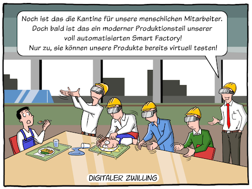 Cartoon: Digitaler Zwilling (medium) by CloudScience tagged digitaler,zwilling,industrie40,industrie,wirtschaft,business,zukunft,trend,entwicklung,produktion,fertigung,automatisierung,automatisch,smart,factory,intelligente,fabrik,vr,virtuelle,realitaet,augmented,reality,planung,kantine,mittagspause,tech,technologie,daten,it,digitalisierung,digital,disruption,arbeitswelt,arbeit,roboter,robotik,maschine,maschinen,visualisierung,vernetzung,vernetzt,moeller,illustration,cartoon,digitaler,zwilling,industrie40,industrie,wirtschaft,business,zukunft,trend,entwicklung,produktion,fertigung,automatisierung,automatisch,smart,factory,intelligente,fabrik,vr,virtuelle,realitaet,augmented,reality,planung,kantine,mittagspause,tech,technologie,daten,it,digitalisierung,digital,disruption,arbeitswelt,arbeit,roboter,robotik,maschine,maschinen,visualisierung,vernetzung,vernetzt,moeller,illustration,cartoon