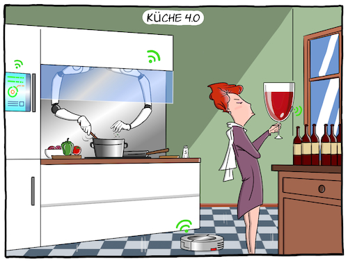 Cartoon: Küche 4.0 (medium) by CloudScience tagged kueche,smart,home,iot,internet,der,dinge,vernetzung,roboter,roboterarm,haus,intelligenz,zukunft,robotik,kochen,sensoren,technologie,technik,hausfrau,moley,automatisierung,disruption,automation,tech,it,kuehlschrank,saugroboter,moeller,illustration,wein,weinglas,rotwein,alkohol,kueche,smart,home,iot,internet,der,dinge,vernetzung,roboter,roboterarm,haus,intelligenz,zukunft,robotik,kochen,sensoren,technologie,technik,hausfrau,moley,automatisierung,disruption,automation,tech,it,kuehlschrank,saugroboter,moeller,illustration,wein,weinglas,rotwein,alkohol