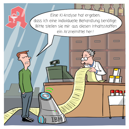 Cartoon: Medizin der Zukunft (medium) by CloudScience tagged digitalheath,healthtech,digitalisierung,digital,gesundheit,gesundheitssystem,arzt,apotheke,medizin,medikament,behandlung,rezept,diagnose,ki,kuenstliche,intelligenz,ai,ibm,analyse,daten,big,data,krank,roboter,robotik,algorithmen,technologie,tech,technik,modern,zukunft,forschung,wissenschaft,arzneimittel,it,patient,krankenkasse,innovation,trend,disruption,wandel,transformation,illustration,digitalheath,healthtech,digitalisierung,digital,gesundheit,gesundheitssystem,arzt,apotheke,medizin,medikament,behandlung,rezept,diagnose,ki,kuenstliche,intelligenz,ai,ibm,analyse,daten,big,data,krank,roboter,robotik,algorithmen,technologie,tech,technik,modern,zukunft,forschung,wissenschaft,arzneimittel,it,patient,krankenkasse,innovation,trend,disruption,wandel,transformation,illustration