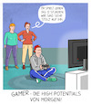 Cartoon: Gamer (small) by CloudScience tagged arbeit,arbeitsmarkt,arbeiten,new,work,talent,high,potential,remote,skills,qualifikation,hr,human,ressource,personal,einstellung,job,hiring,recruting,managment,mitarbeiter,produktivität,digitalisierung,digital,computerspielen,konsole,kreativität,spielen,it,technik