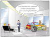 Cartoon: Online-Konfigurator (small) by CloudScience tagged auto,autohaus,individuell,fertigung,modular,zusammensetzung,individualismus,produkt,konfigurator,konfiguratoren,online,internet,shop,ecommerce,abholung,verkaeufer,kunden,digitalisierung,digital,automobilbranche,automotive,it,technologie,technik,kundenwunsch,produktgestaltung,wirtschaft,bestellung,industrie40,iot,automatisierung,beratung,tech