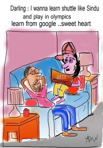Cartoon: wife and hus conversation (medium) by anupama tagged wife,and,husband,conversaion