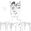 Cartoon: nationbuilding (small) by sasch tagged nation,warlords,drogen,afghanistan,karsai