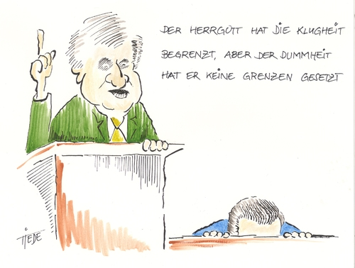 Cartoon: Seehofer über Klugheit (medium) by tiede tagged seehofer,csu,klugheit,guttenberg,rücktritt,plagiat,horst seehofer,klugheit,csu,guttenberg,rücktritt,plagiat,horst,seehofer