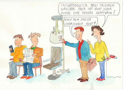 Cartoon: beim Frisör (medium) by Denno tagged haarschnitt