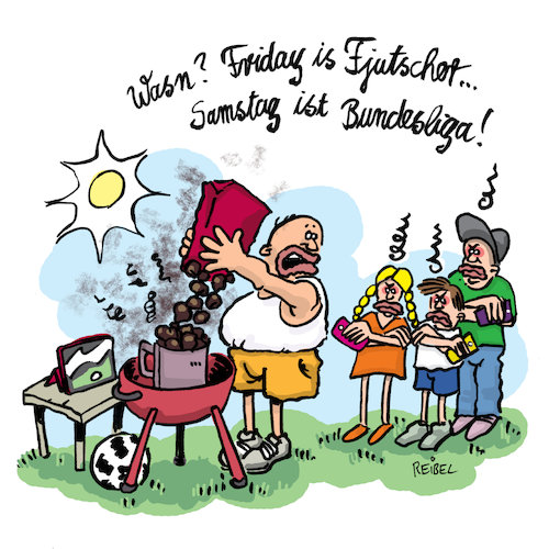 Cartoon: samstag for bundesliga (medium) by REIBEL tagged klimawandel,kohle,grill,fridayforfuture,greta,umwelt,aktivist,klimawandel,kohle,grill,fridayforfuture,greta,umwelt,aktivist