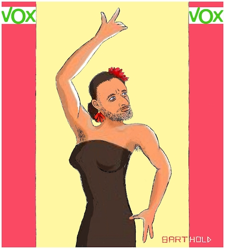 Cartoon: Big Effort - Little Profit (medium) by Barthold tagged spain,parliament,elections,2019,vox,right,wing,populistic,party,santiago,abascal,leader,flamenco,dancer,political,seduction,stuffed,bra