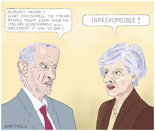 Cartoon: Dialogue May Corbyn (medium) by Barthold tagged brexit,united,kingdom,great,britain,theresa,may,jeremy,corbyn,italy,matteo,salvini,luigi,di,maio,giuseppe,conte,populism,will,people