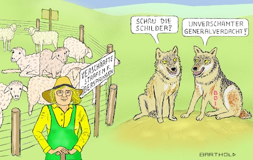 Cartoon: Generalverdacht (medium) by Barthold tagged christine,lambrecht,justizministerin,verschärfte,strafen,vergehen,unternehmen,bdi,stellungnahme,martin,wansleben,generalverdacht,schafe,wölfe,zaun,schilder