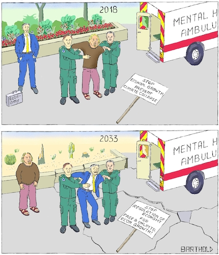 Cartoon: Growth or Climate (medium) by Barthold tagged climate,change,collapse,catastrophe,global,warming,convention,catowice,2018,mental,health,ambulance,vehicle,paramedic,economy,economic,growth,governmental,regulation,restriction,tax,collection,blooming,flower,bed,edging,cactus,cactuses,asphalt,crack