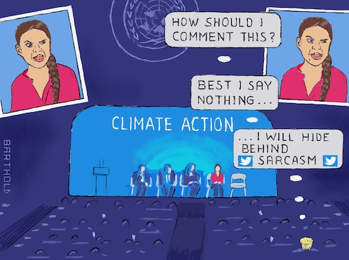 Cartoon: Helpless Prez at Climate Summit (medium) by Barthold tagged greta,thunberg,fridays,for,future,climate,campaigner,new,york,un,united,nations,summit,september,23,2019,emotional,speech,tweet,twitter