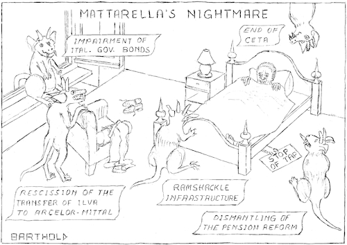 Cartoon: Mattarella s Nightmare (medium) by Barthold tagged luigi,mattarella,president,italy,coalition,lega,nord,five,star,movement,impairment,italian,governmental,bonds,ceta,ilva,ramshackle,infrastructure,morandi,bridge,polcevera,viaduct,genua,pension,reform,dignity,decree,highspeed,railway,turin,lyon,trans,adriatic,pipeline,gas,tap,monster,eu,stability,criteria,sleeping,room,increasing,interest,rates,state,indebtedness