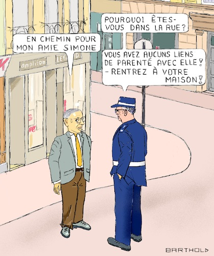 Cartoon: S ils vivraient aujourd hui (medium) by Barthold tagged jean,paul,sartre,philosophe,existentialiste,simone,beauvoir,confinement,general,corona,epidemie,pandemie,paris,saint,germain,policier,france,emmanuel,macron,caricature,barthold,jean,paul,sartre,philosophe,existentialiste,simone,beauvoir,confinement,general,corona,epidemie,pandemie,paris,saint,germain,policier,caricature,barthold