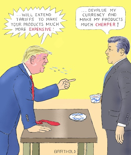 Cartoon: Strength Lies in Peace (medium) by Barthold tagged trade,war,usa,china,trump,xi,jinpeng,punitive,tariffs,devaluation,yuan,tea,cup,calmness,balance,red,excitation,blood,boiling,popping,veins