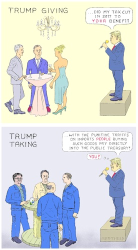 Cartoon: Trump Giving and Taking (medium) by Barthold tagged donald,trump,additional,punitive,tariff,25,percent,goods,value,200,billion,dollar,tax,cut,2017,wealthy,factory,worker,champagne,party,table,cable,reel,roller