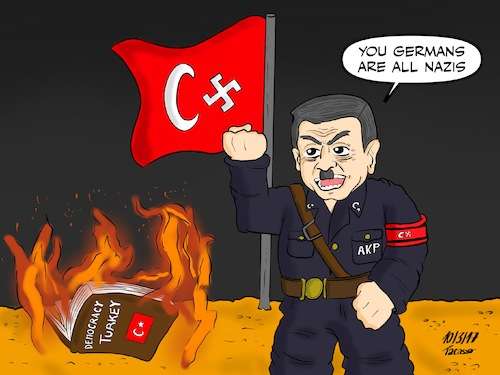 Cartoon: Erdogan_Nazi_Germany (medium) by Tacasso tagged erdogan,turkey,presidential,system,politics,government,turkish,türkiye,siyasi,siyaset,akp,nazi,democracy