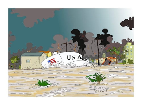 Cartoon: clean the white hat (medium) by vasilis dagres tagged trump,hurricane